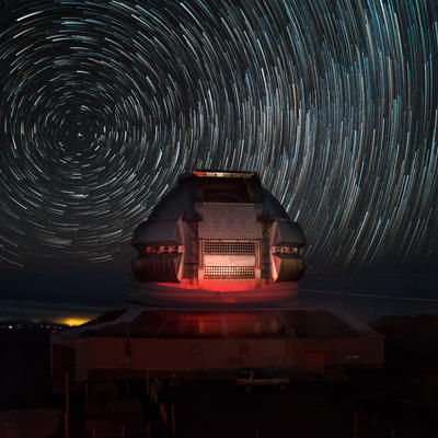 Gemini North on Maunakea with Star Trails on a Dark Sky