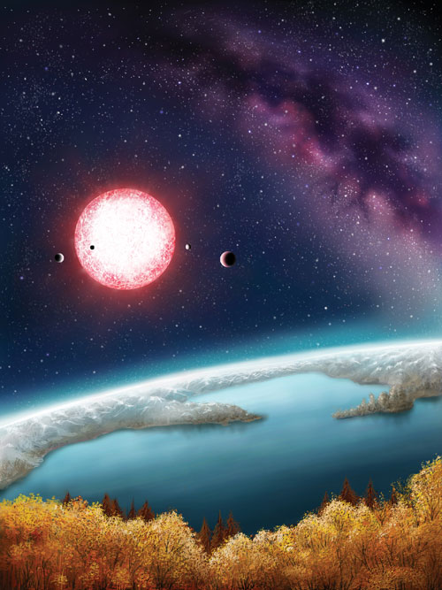 View of a distant world's surface, artist's concept.