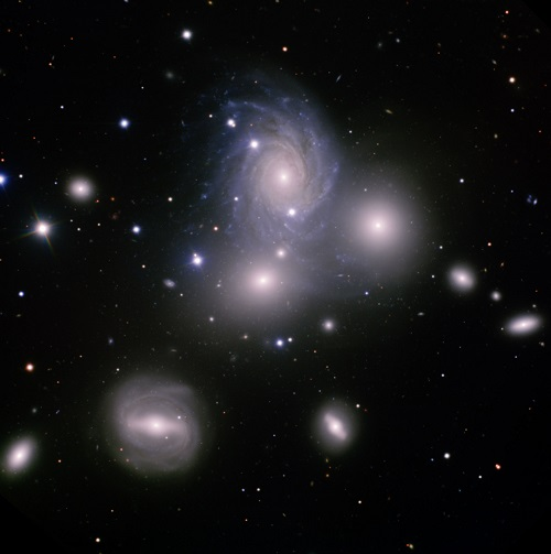 Gemini Legacy image of the galaxy group VV 166, obtained using the Gemini Multi-Object Spectrograph (GMOS), at the Gemini North telescope located on Mauna Kea, Hawai'i. In this image, north is up, east left, and the field of view is 5.2 x 5.2 arcminutes. Composite color image produced by Travis Rector, University of Alaska Anchorage. Image credit: Gemini Observatory/AURA