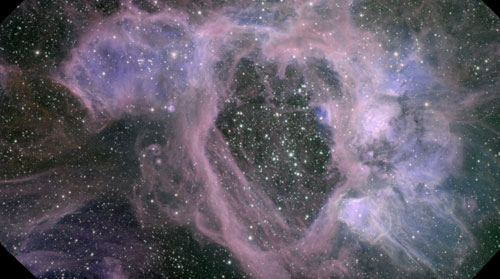 Gemini Legacy Image of superbubble complex N44 as imaged with GMOS on the Gemini South Telescope in Chile.  Composite color image by Traivs Rector, University of Alaska Anchorage.