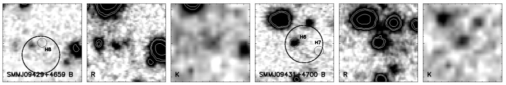 Images of SMMJ09429 +4659 (left) and images of SMMJ09431+4700 (right) in B, R and K Bands