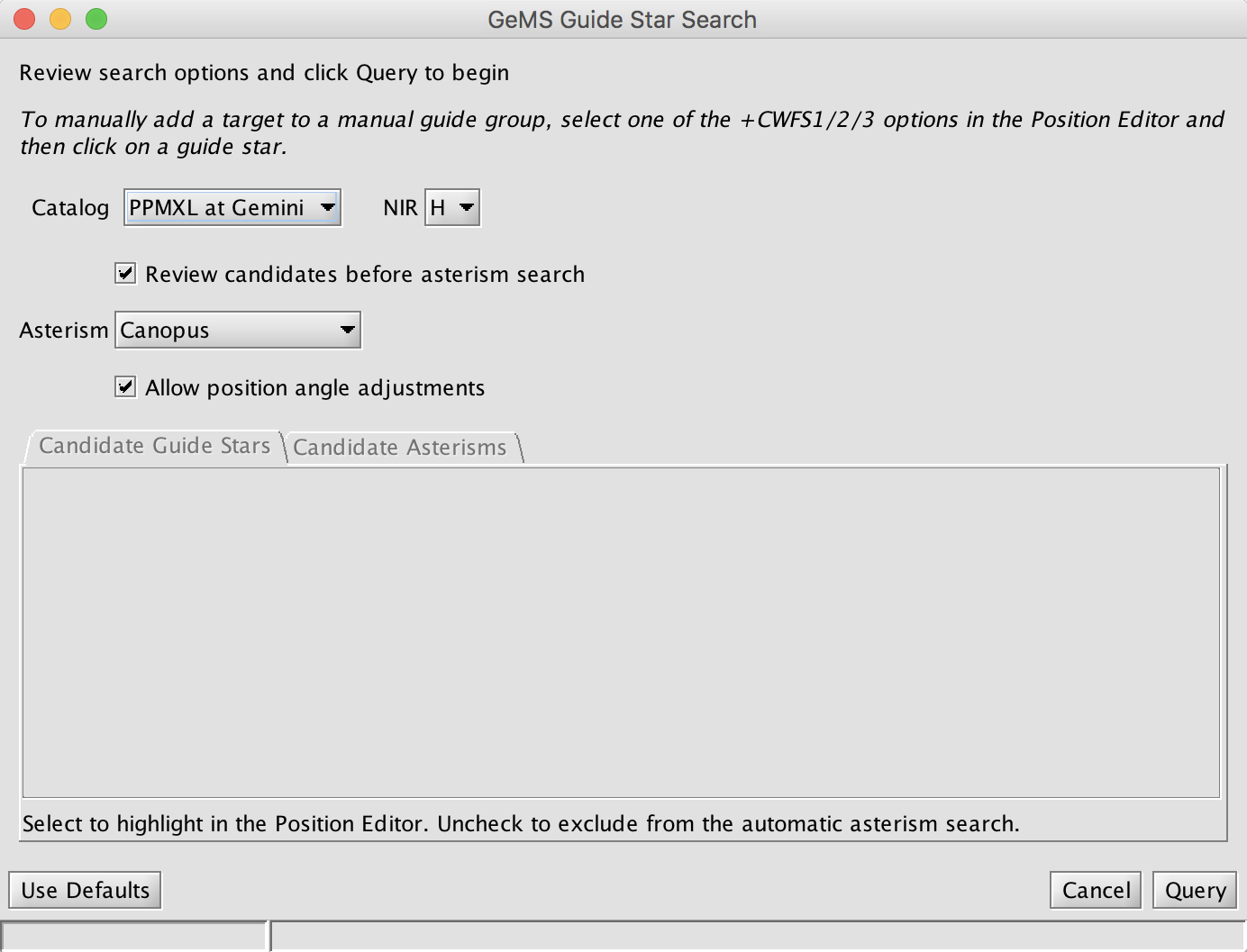 Guide Star Selection dialog window 1