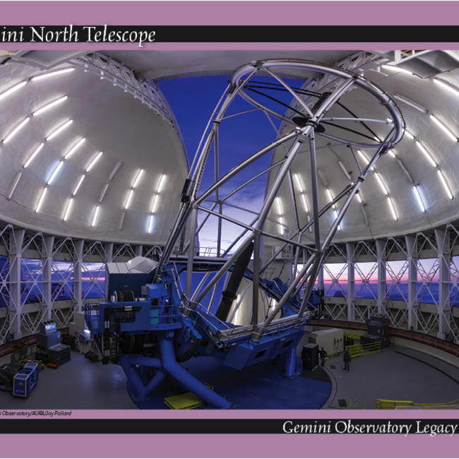 Gemini North Telescope in the dome at sunset.