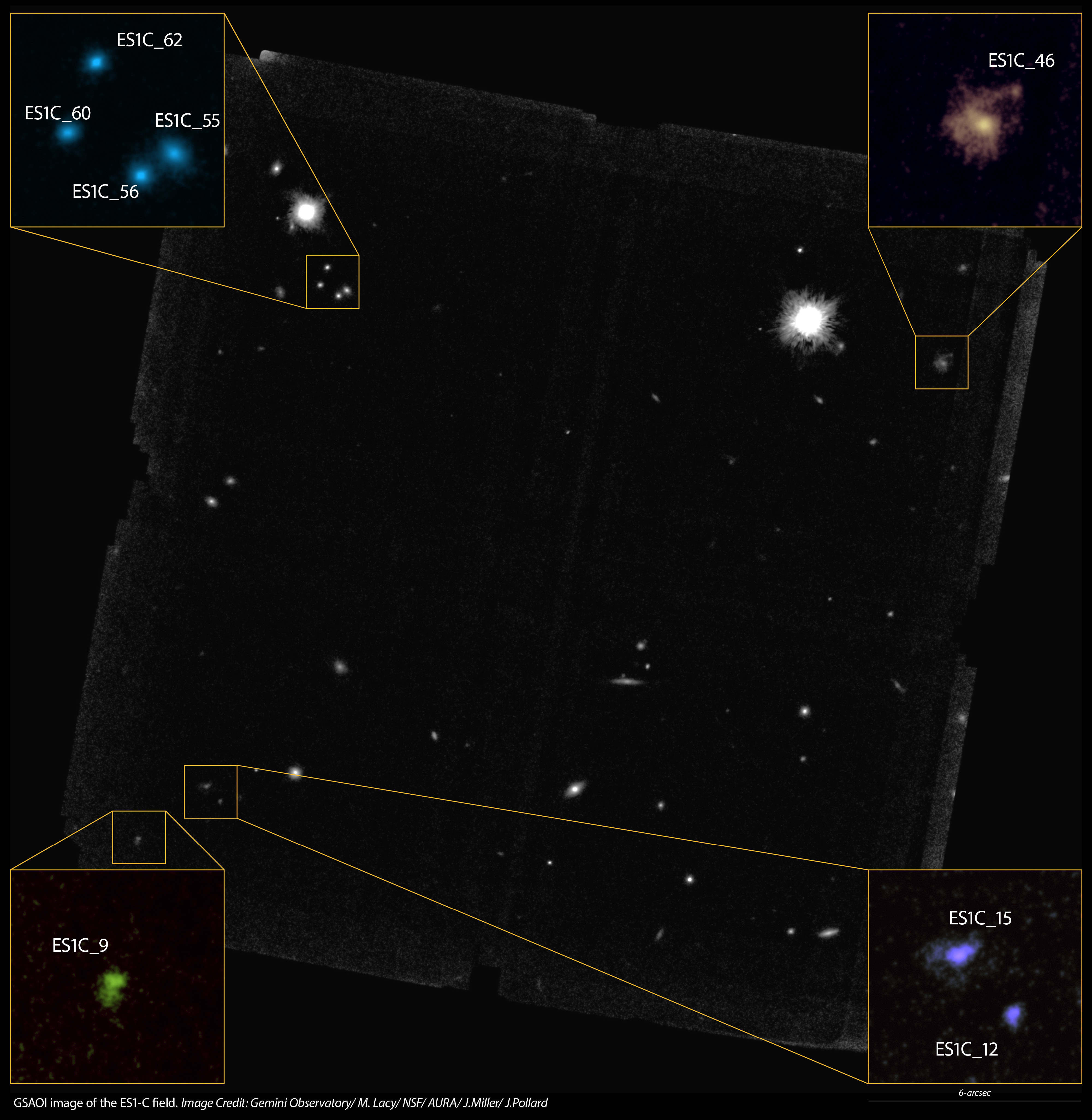 infographic GSAOI image of the ES1-C field with insets of several galaxies.