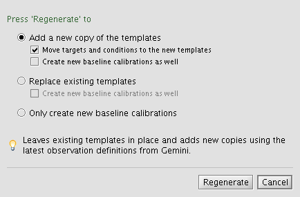 Template regeneration window