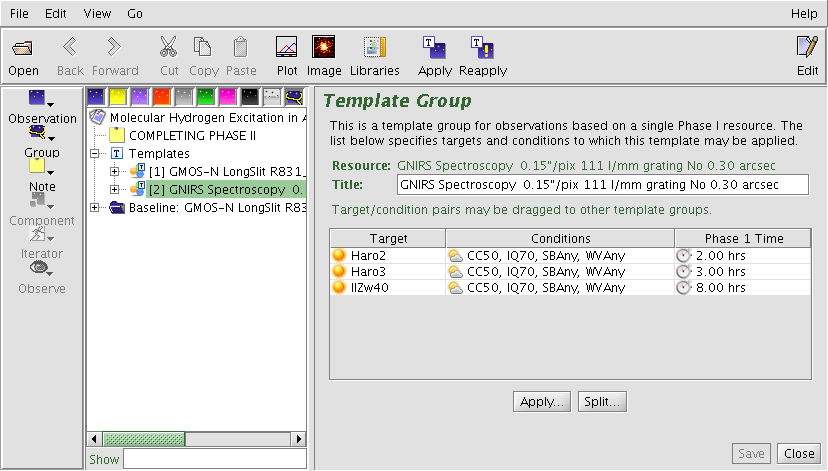 Targets associated with template groups