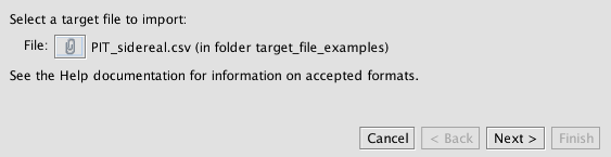 Selecting a target file for import.