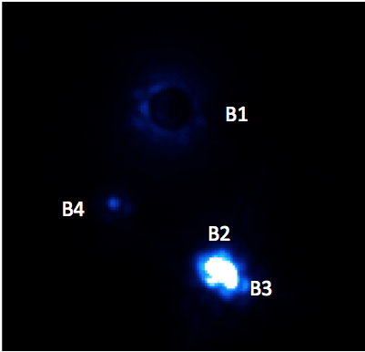 Ori B as imaged with GPI on 13 Nov 2013. Components are labeled
